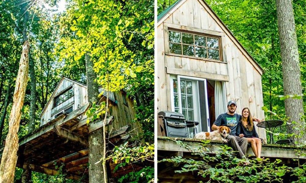 Casal abandona tudo e constrói casa na floresta com 4 mil dólares