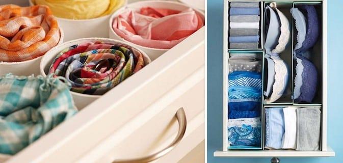 15 truques para organizar melhor o quarto, as gavetas e o armário