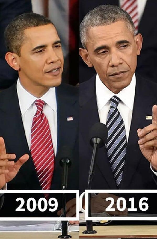 A aparência de 11 presidentes antes e depois de seus mandatos