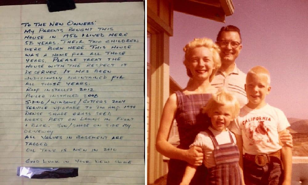 Após 2 anos na nova casa, casal acha bilhete deixado pelos antigos donos