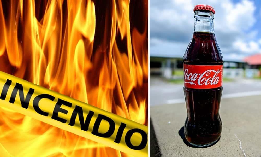 Bombeiro mostra como apagar incêndio com refrigerante