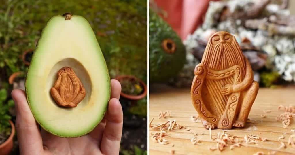 Caroço do abacate vira obra de arte nas mãos dessa artesã