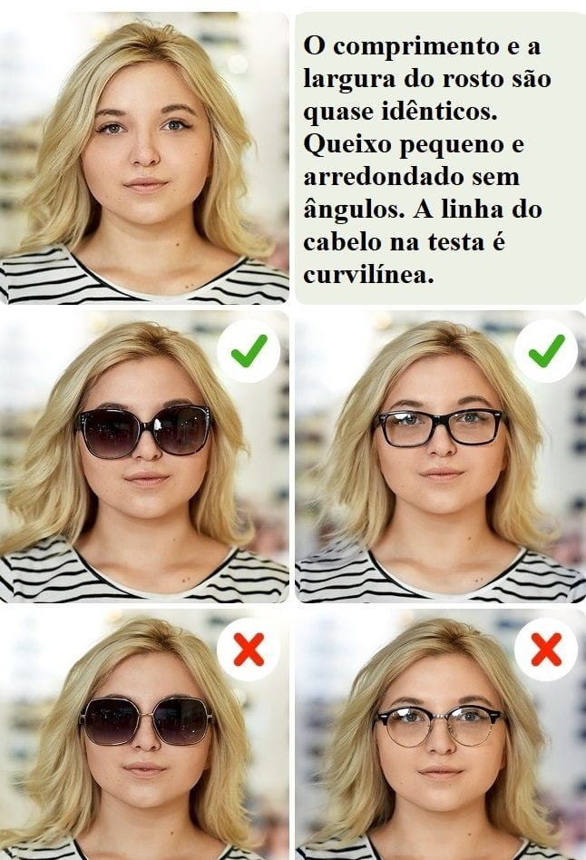 Seu objetivo é alongar visualmente seu rosto, então escolha óculos com  ângulos, eles estreitam o rosto. Para equilibrar suas proporções faciais,  ... c1c9a69d00
