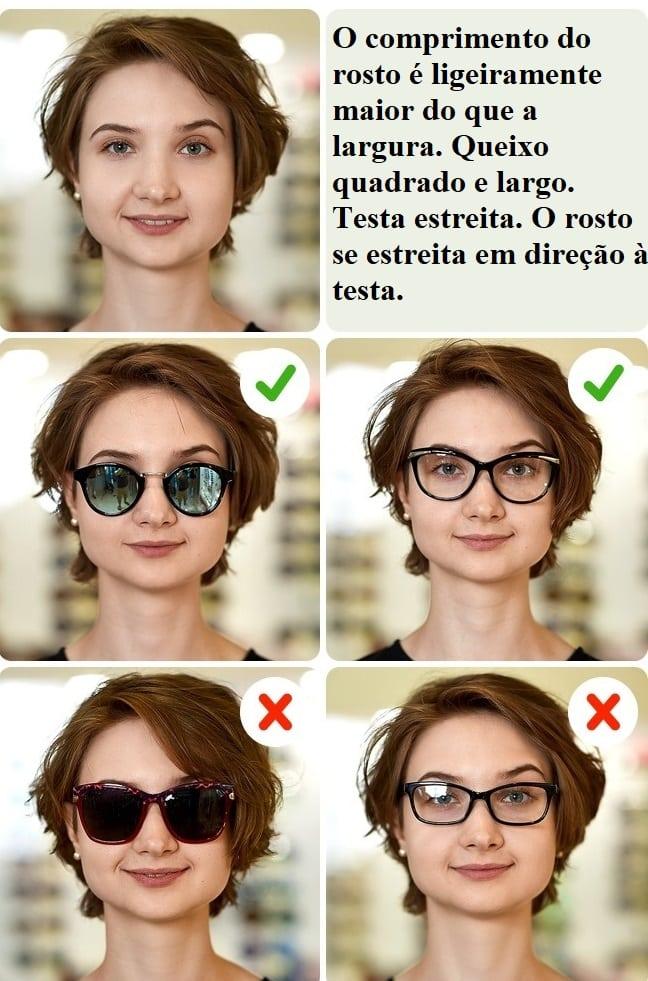 ef601cfa040f3 Seu objetivo principal deve ser ampliar visualmente a metade superior do  seu rosto enquanto faz a metade inferior parecer menor. Escolha óculos de  sol com ...