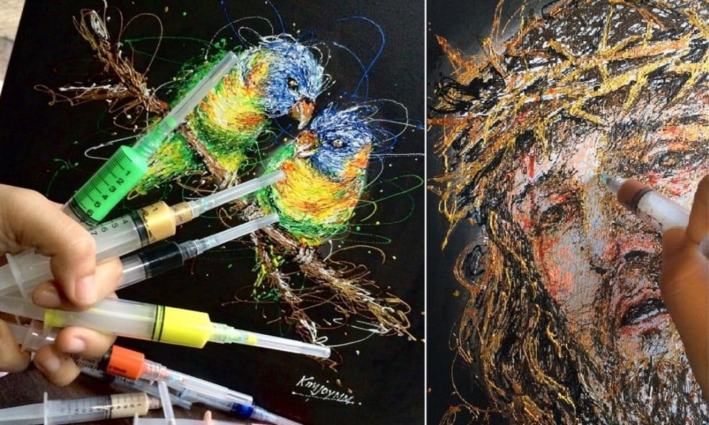 Enfermeira cria obras de arte incríveis com seringas e tinta