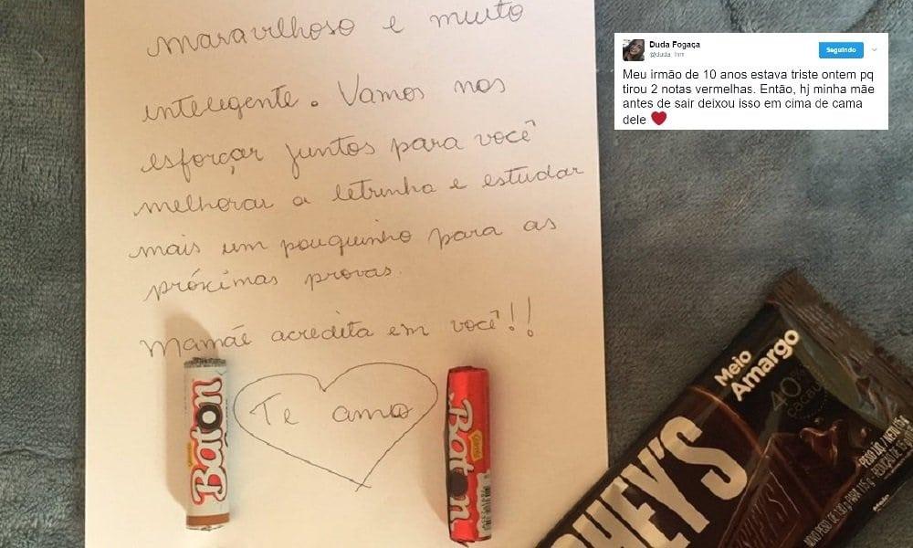 Mãe descobre nota vermelha do filho de 10 anos e escreve bilhete emocionante