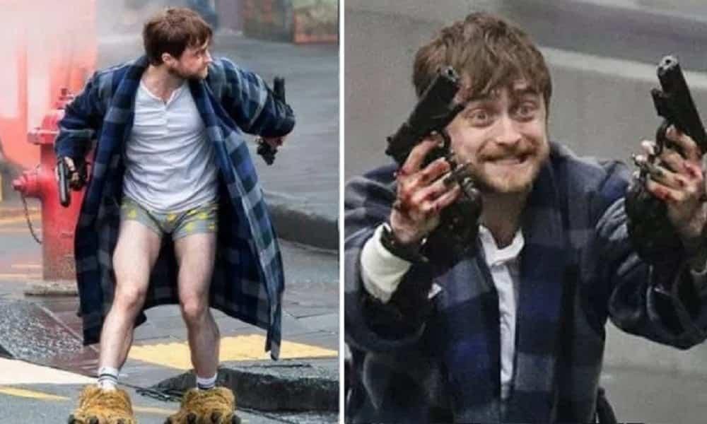Daniel Radcliffe aparece doidão, de pantufas e armado na web. Entenda