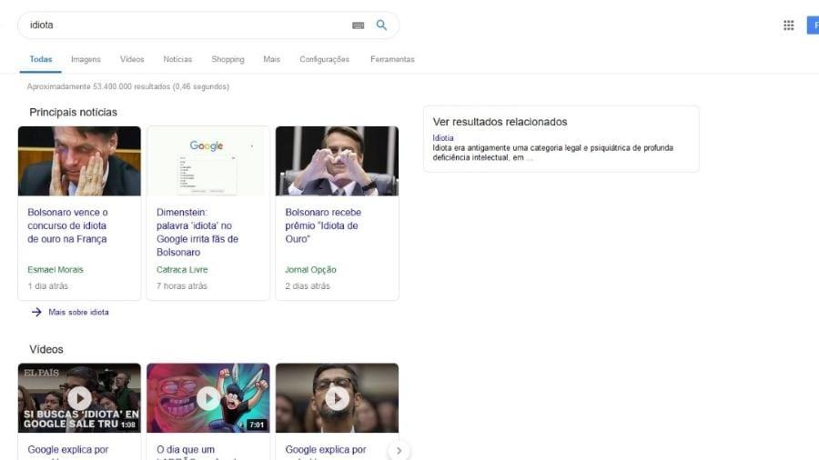 O que acontece se você buscar o termo idiota no Google?