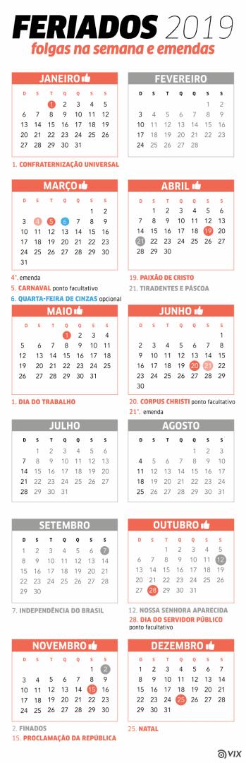 Quais são os feriados de 2019, e quais você vai poder emendar