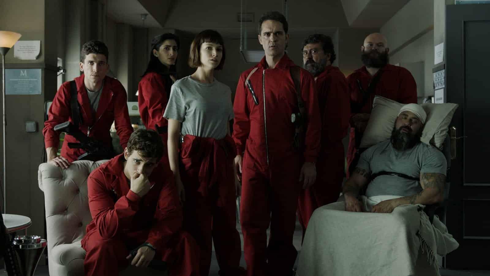 Imagem mostrando o grupo dos assaltantes de La Casa de Papel.