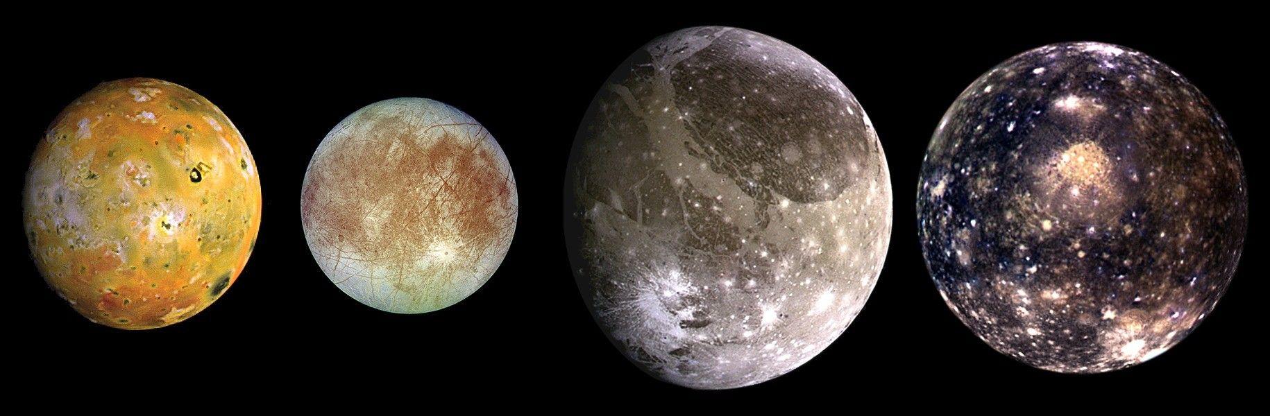 Fotografia das Luas de Júpiter para ilustração do item