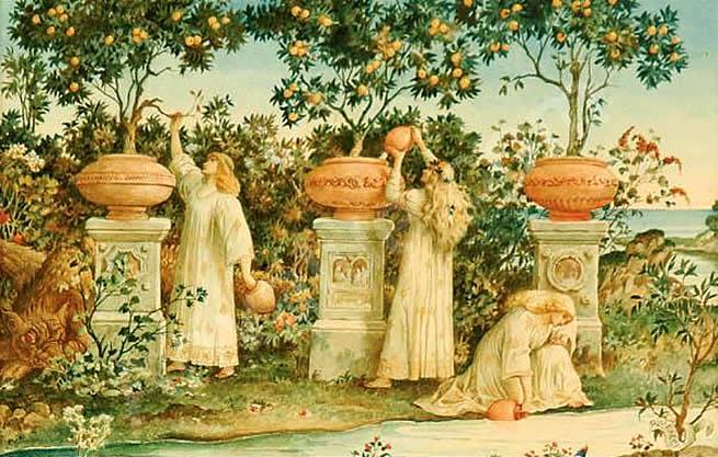 Ilustração do jardim de Hespérides para exemplificar o item