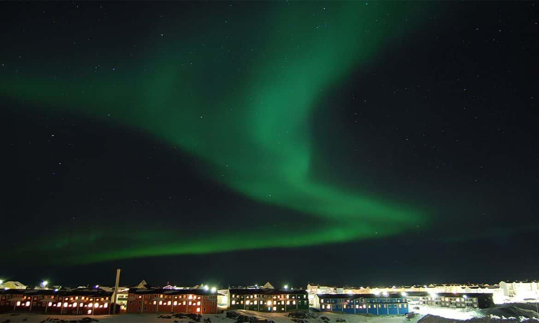 Fotografia do céu na Groenlândia para ilustração do item