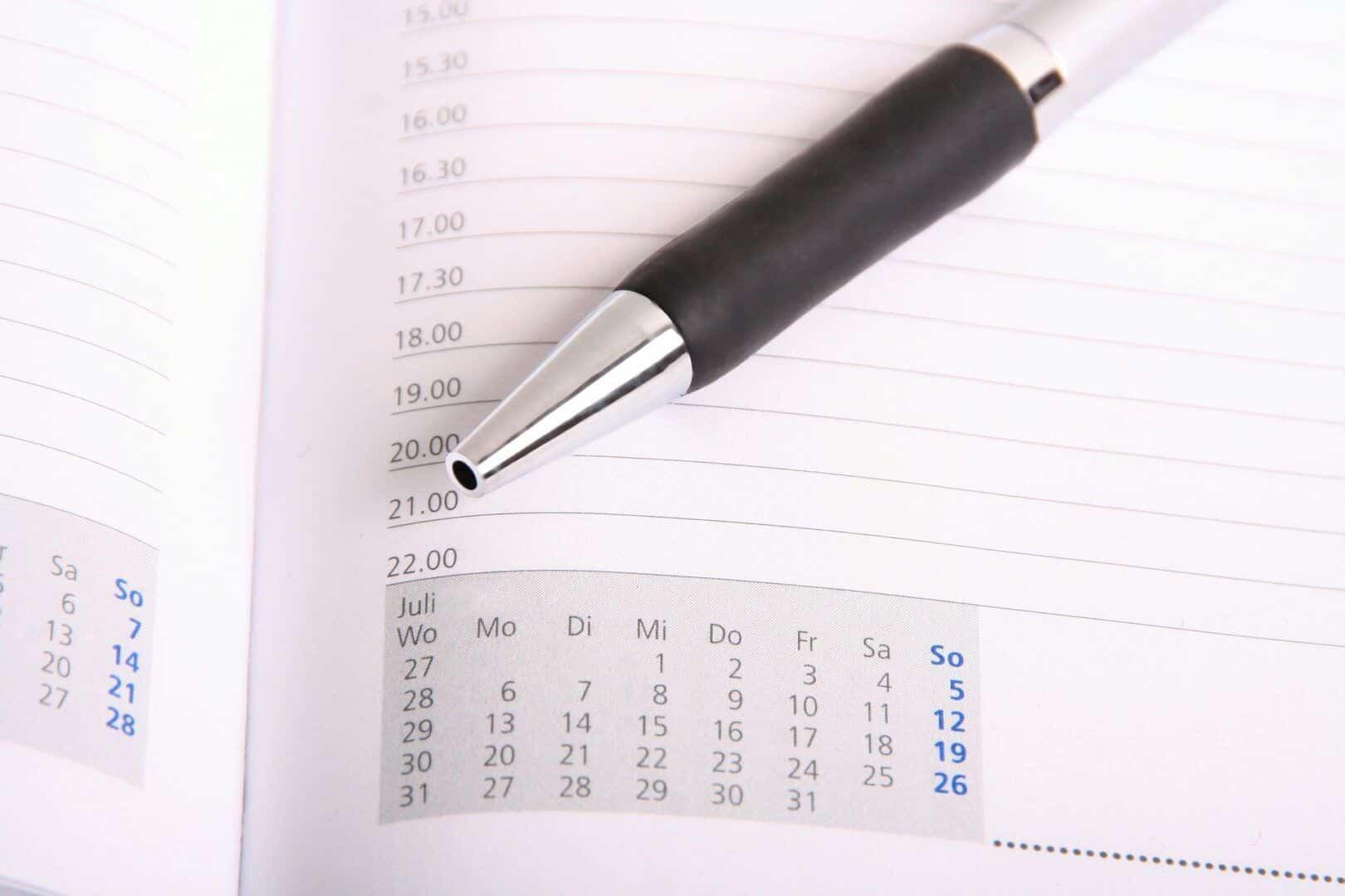 Fotografia de uma agenda para ilustração do item