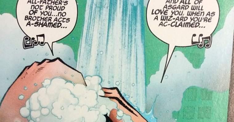 Ilustração do personagem cantando no chuveiro para exemplificação do item