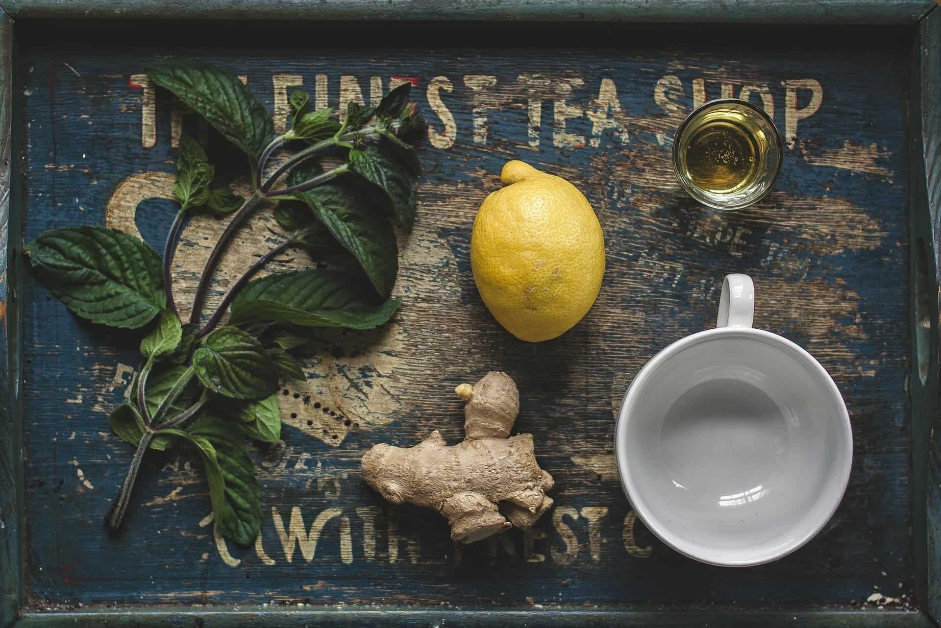 Fotografia de elementos de preparo para chá para ilustração do item