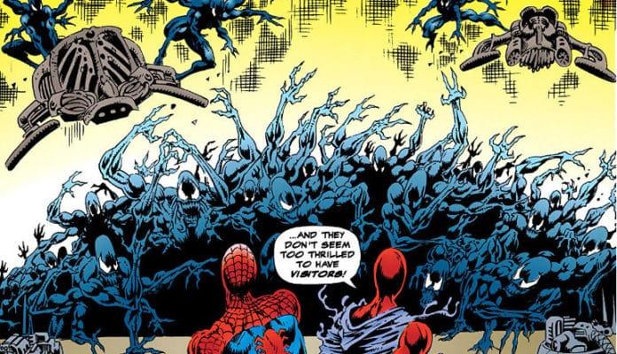 Ilustração do simbionte com o Homem-Aranha